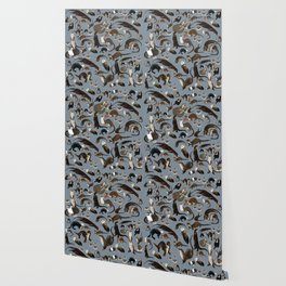 Otters of the World pattern in grey Wallpaper