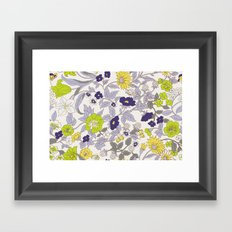 floral garden - blues and greens Framed Art Print