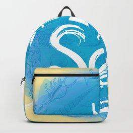 i need vitamin sea White text on blue background, Summer sea shells, molluscs Backpack