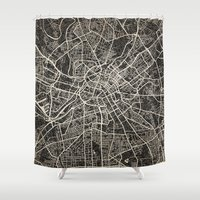 manchester Shower Curtains featuring manchester map ink lines by NJ-Illustrations
