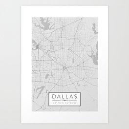 Dallas Map - Black and White (Light) Art Print
