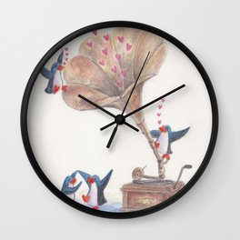 Penguins Love Dancing to Music from Gramophone Wall Clock