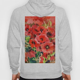 Red Poppies red floral pattersn texture poppy flower design Hoody