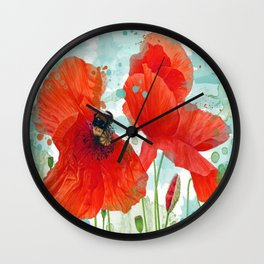 Poppies 02 Wall Clock