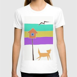 birdhouse and cat T-shirt