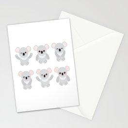 Funny cute koala set on white background Stationery Cards