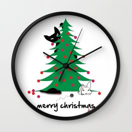 Bad Cat Christmas wish Wall Clock