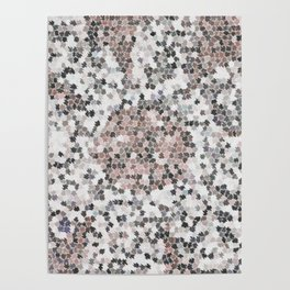 Star Shaped Patchwork in White, Pink And Black Poster