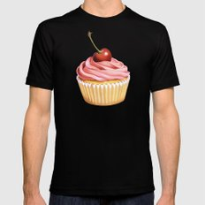 Pink Cupcake II Mens Fitted Tee Black MEDIUM