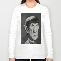 spock Long Sleeve T-shirts featuring Spock - Caricature by Nate Cruz