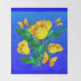 YELLOW BUTTERFLIES, ROSES, & BLUE OPTICAL ART Throw Blanket