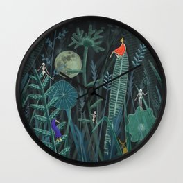 Full moon on a meadow Wall Clock