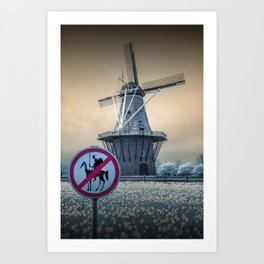 No Tilting at Windmills with Don Quixote Sign and Windmill Art Print