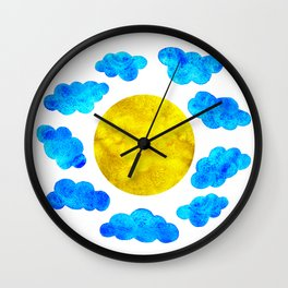 Cute blue cartoon clouds and sun. Wall Clock