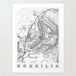 Brasilia Map Line Art Print