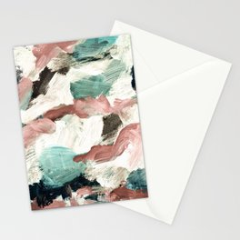 abstract painting VI - green & dusty pink Stationery Cards