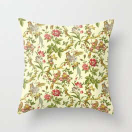 A Consort of Birds in Paradise Throw Pillow