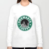 hogwarts Long Sleeve T-shirts featuring Hogwarts Coffee by Beautiful Bibliophile's Boutique