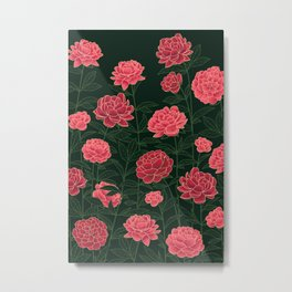Dark red peonies floral pattern Metal Print
