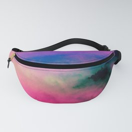 Fog Forest Mountain - Pink Rainbow Northern Lights Fanny Pack