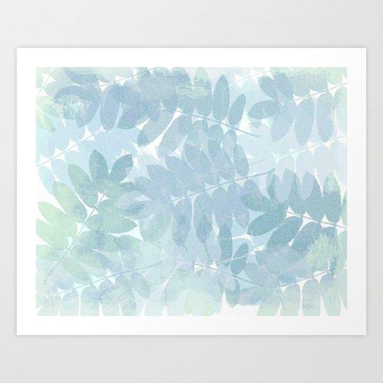 Vintage Blue Leaf Abstract Art Print