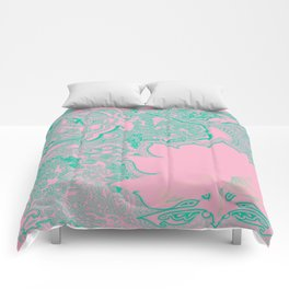 Lotus Beach Flower Comforters