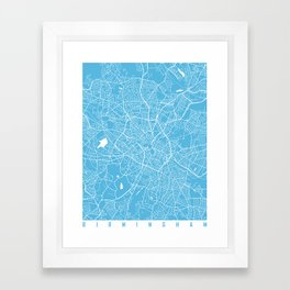 Birmingham map blue Framed Art Print