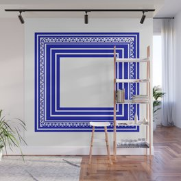 Blue and White Lines Geometric Abstract Pattern Wall Mural