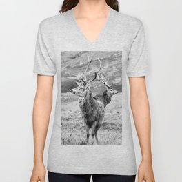 Stags - b/w Unisex V-Neck