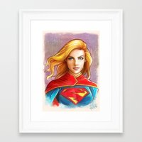 supergirl Framed Art Prints featuring Supergirl by fabvalle