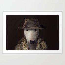 Bullterrier in the hat Art Print