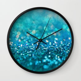 Teal turquoise blue shiny glitter print effect - Sparkle Luxury Backdrop Wall Clock