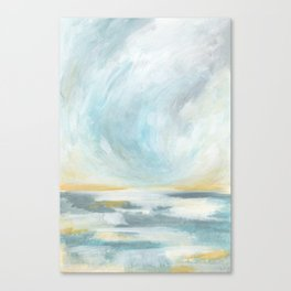 Thankful - Gray and Yellow Ocean Seascape Canvas Print