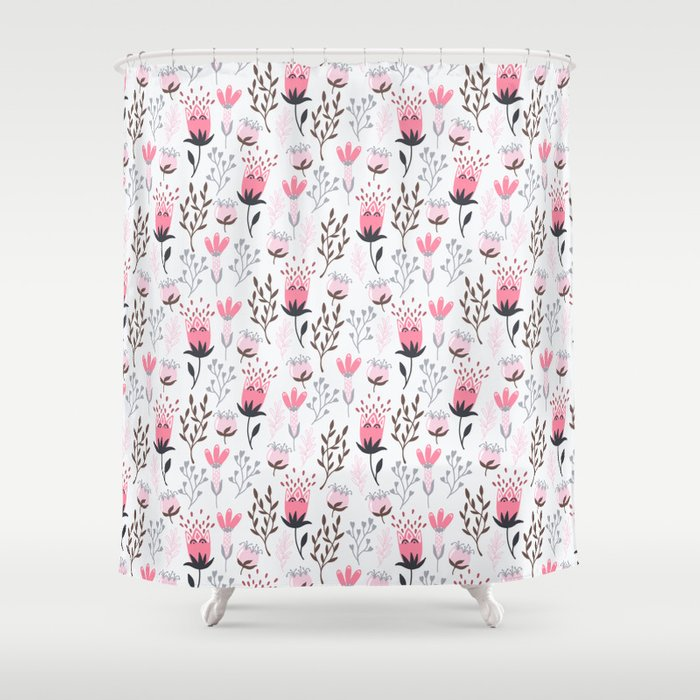 Mod Floral Pink Gray Shower Curtain