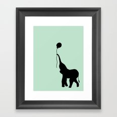Elephant with Balloon - Mint Framed Art Print