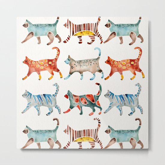 Cat Collection: Watercolor Metal Print