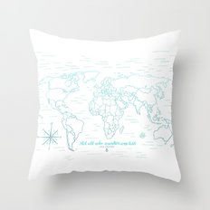 Where We've Been, World, Icy Blue Throw Pillow