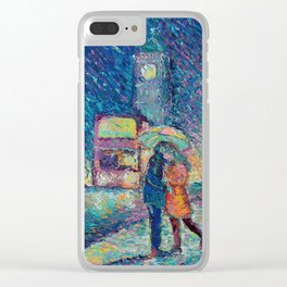 Lovers in Rainy London - romantic city landscape for Valentines day by Adriana Dziuba Clear iPhone Case