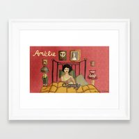 amelie Framed Art Prints featuring Amelie by Nicola Colton illustration