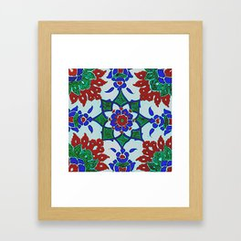An Ottoman Iznik style floral design pottery polychrome, by Adam Asar, No 42Aa Framed Art Print