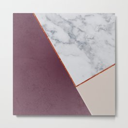 PLUM MARBLE NUDE COPPER GEOMETRIC Metal Print