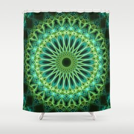 Yellow and green glowing mandala Shower Curtain