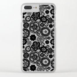 Whimsical Floral Black and White Pattern Clear iPhone Case