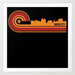 Retro Style Rapid City South Dakota Skyline Art Print