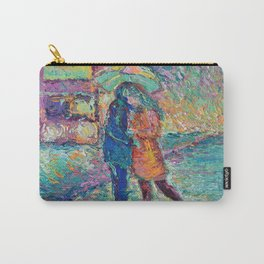 Lovers in Rainy London - romantic city landscape for Valentines day by Adriana Dziuba Carry-All Pouch