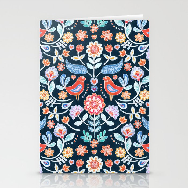 Happy Folk Summer Floral on Navy Stationery Cards