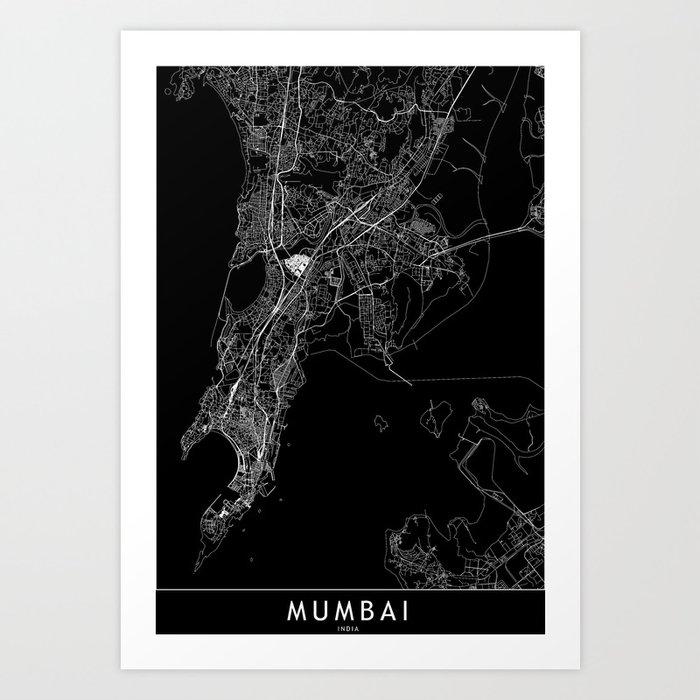 Mumbai Black Map Kunstdrucke