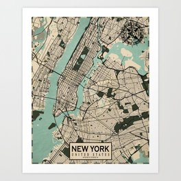 New York City Map of the United States - Vintage Art Print