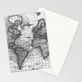 Black and White World Map (1780) Stationery Cards