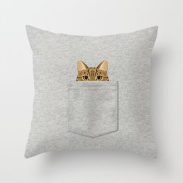 Pocket Tabby Cat Throw Pillow